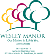 Wesley Manor logo with contact info