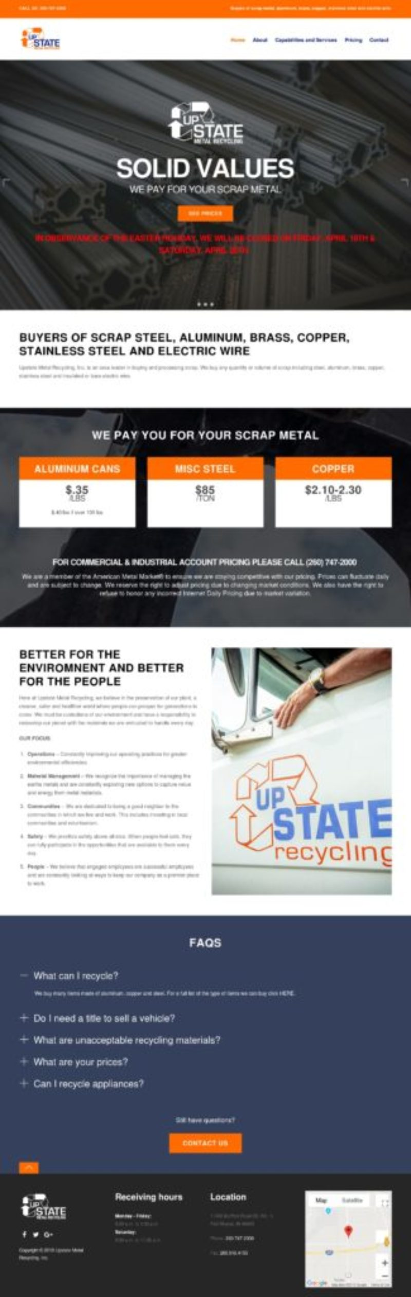Screenshot of Up State Recycling website