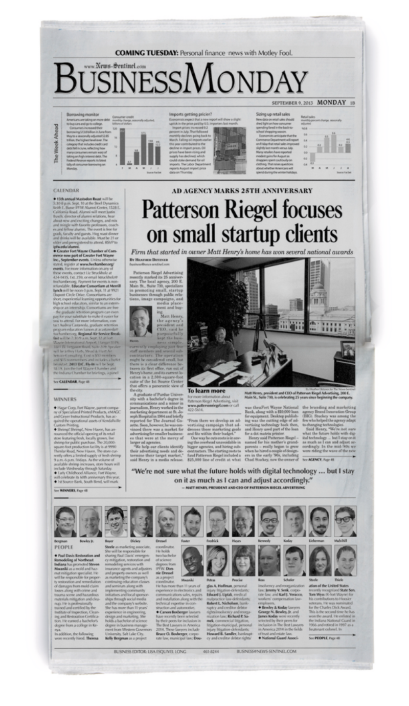 Image of News Sentinel Business page article about Patterson Riegel