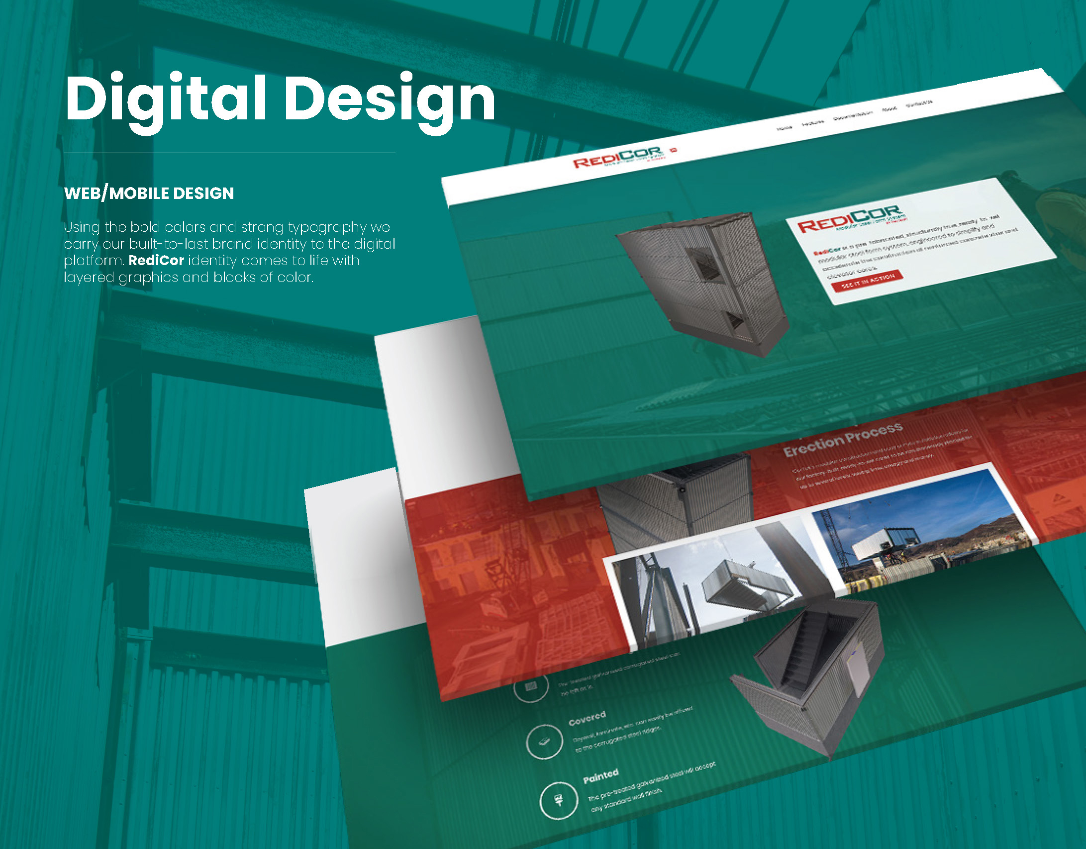 Graphic featuring RediCor design and brand identity