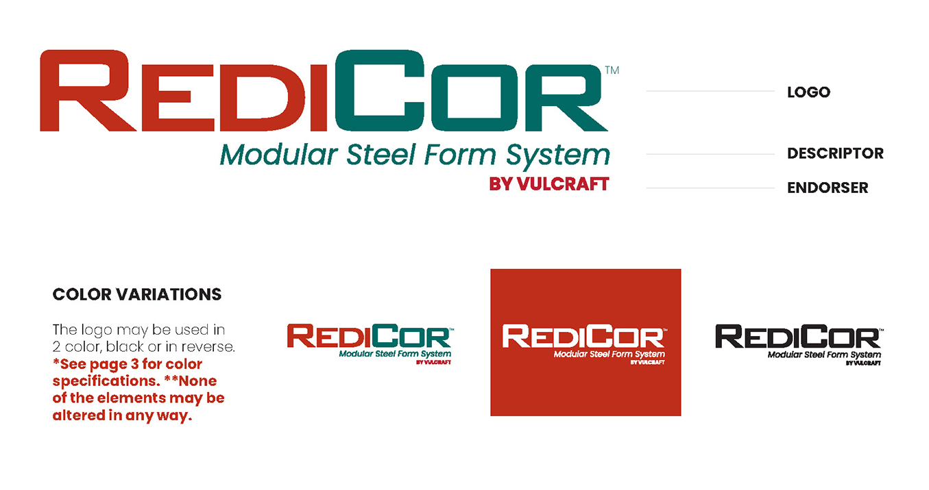 Image containing multiple versions of RediCor logo