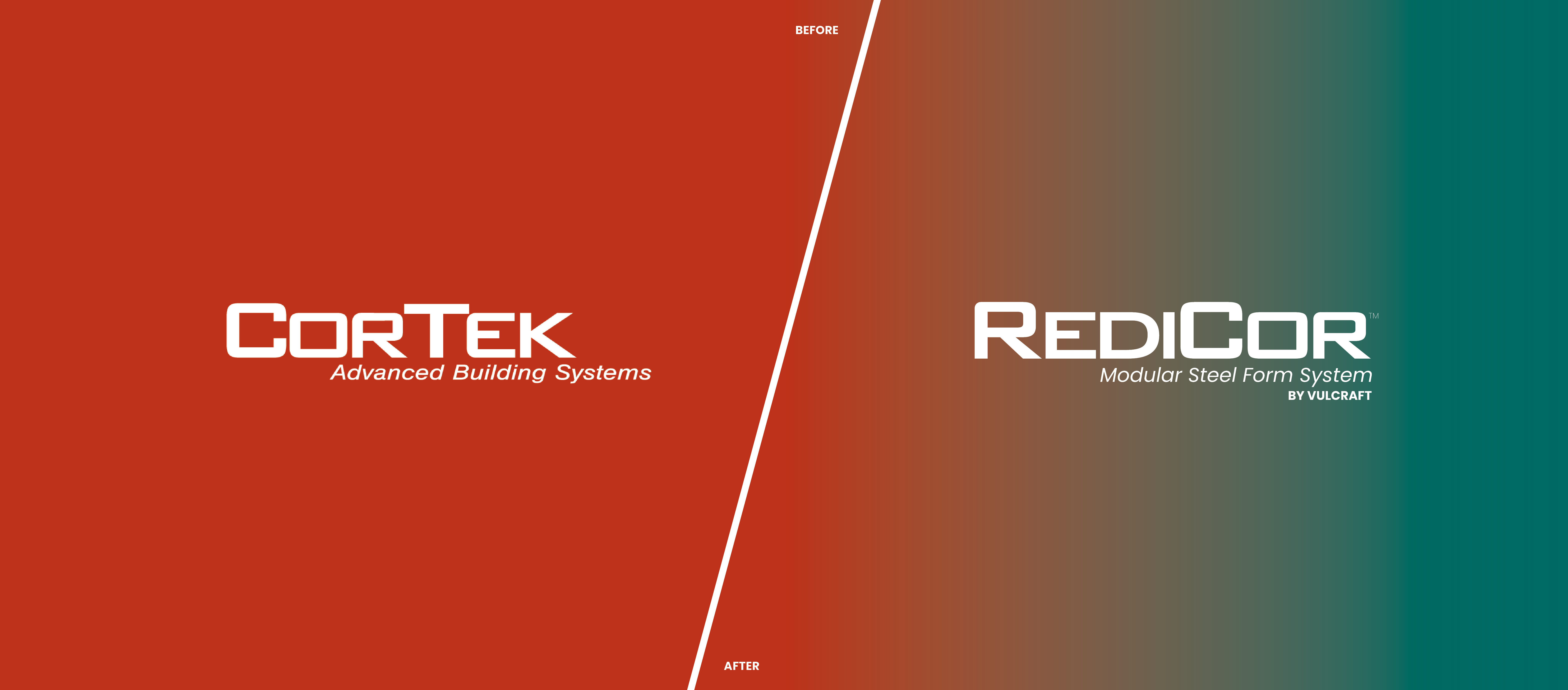 RediCor rebranding -- graphic featuring before/after logos