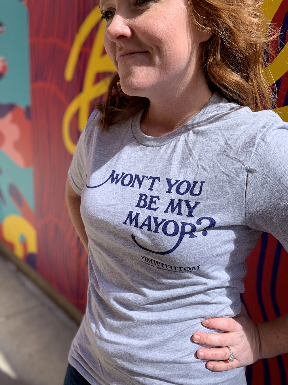 Photo of the Won't You Be My Mayor campaign t-shirt