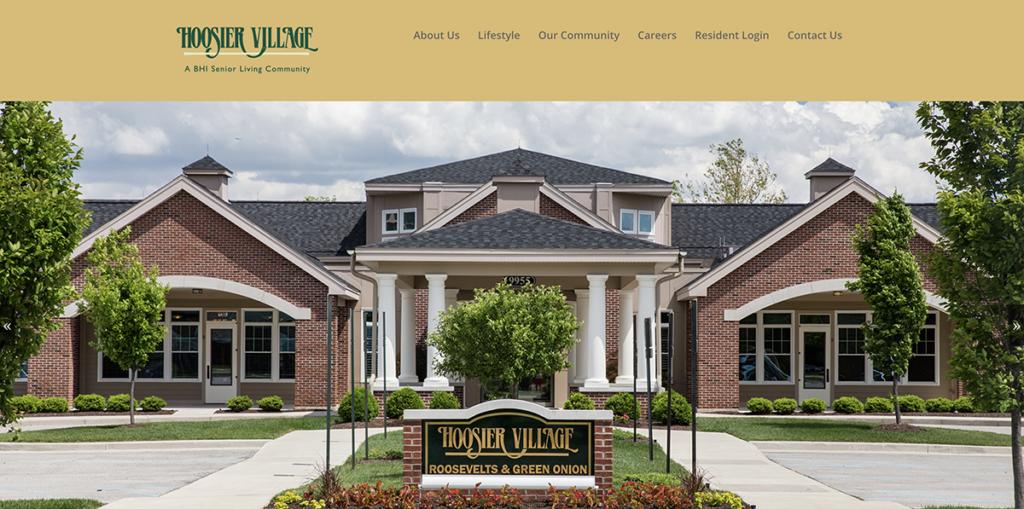 Screenshot of the Hoosier Village's website