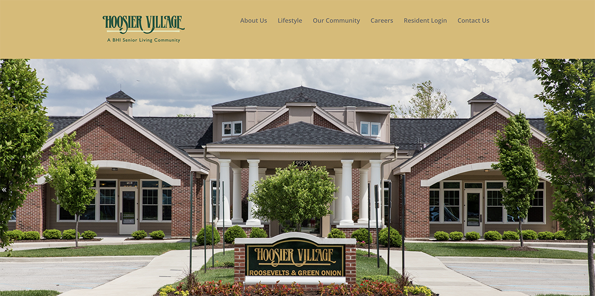 Screenshot of the Hoosier Village's website