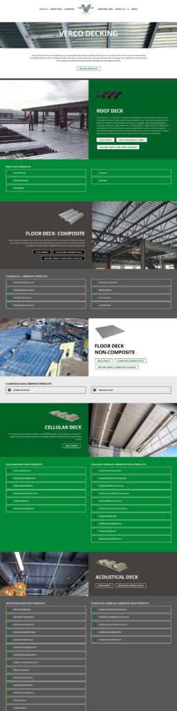 Screenshot of the Verco Decking website