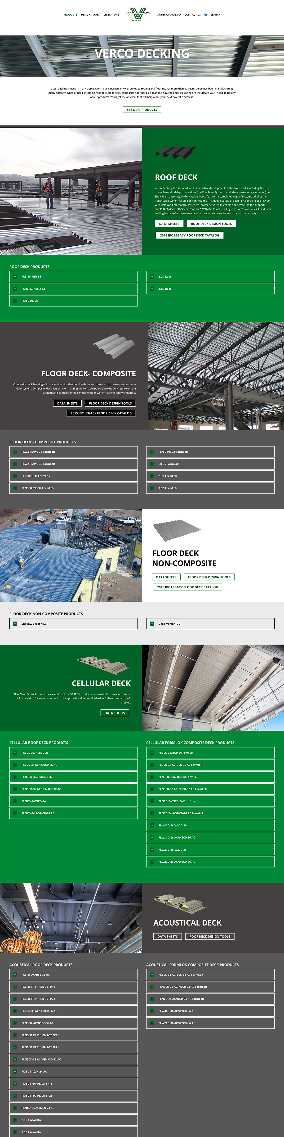 Screenshot of the Verco Decking website